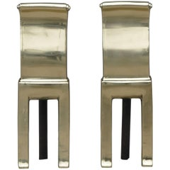Pair of Modernist Andirons by Virginia Metalcrafters