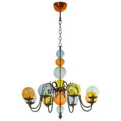 Italian Venetian, Chandelier, brass & colored blown Murano Glass bolls, 1960s