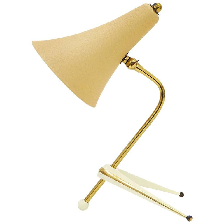 """""""Atomic"""" Brass and Lacquered Table Lamp, Austria, 1950s"""