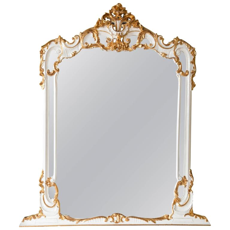 Louis XV Style Paint and Gilt Gold Wall Dresser Mirror Wonderfully Carved