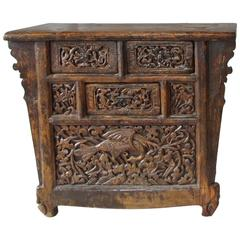 Antique Chinese Hand-Carved Elmwood Coffer, early Century