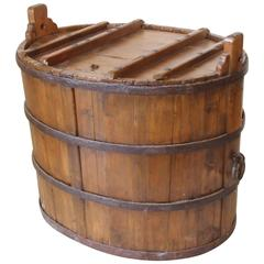 Large Antique Chinese Water Tub with Hand-Forged Iron, circa 1870