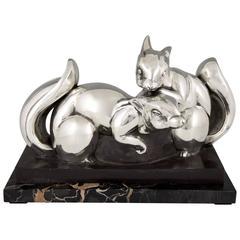 Jean de la Fontinelle, French Art Deco Silvered Bronze Squirrel Sculpture, 1930