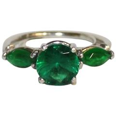 Ladies Platinum Ring Set with Synthetic Emeralds
