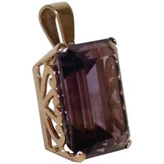 14-Karat Gold and Amethyst Ladies Necklace Pendant