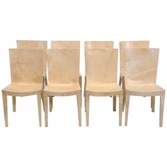 Set of JMF Lacquered Goatskin Chairs by Karl Springer