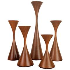 Grouping of Five Masterfully Turned Wood Candlesticks by Rude Osolnik, 1970s
