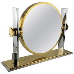 Gorgeous Two-Sided Vanity Mirror in Chrome and Brass by Karl Springer, 1970s