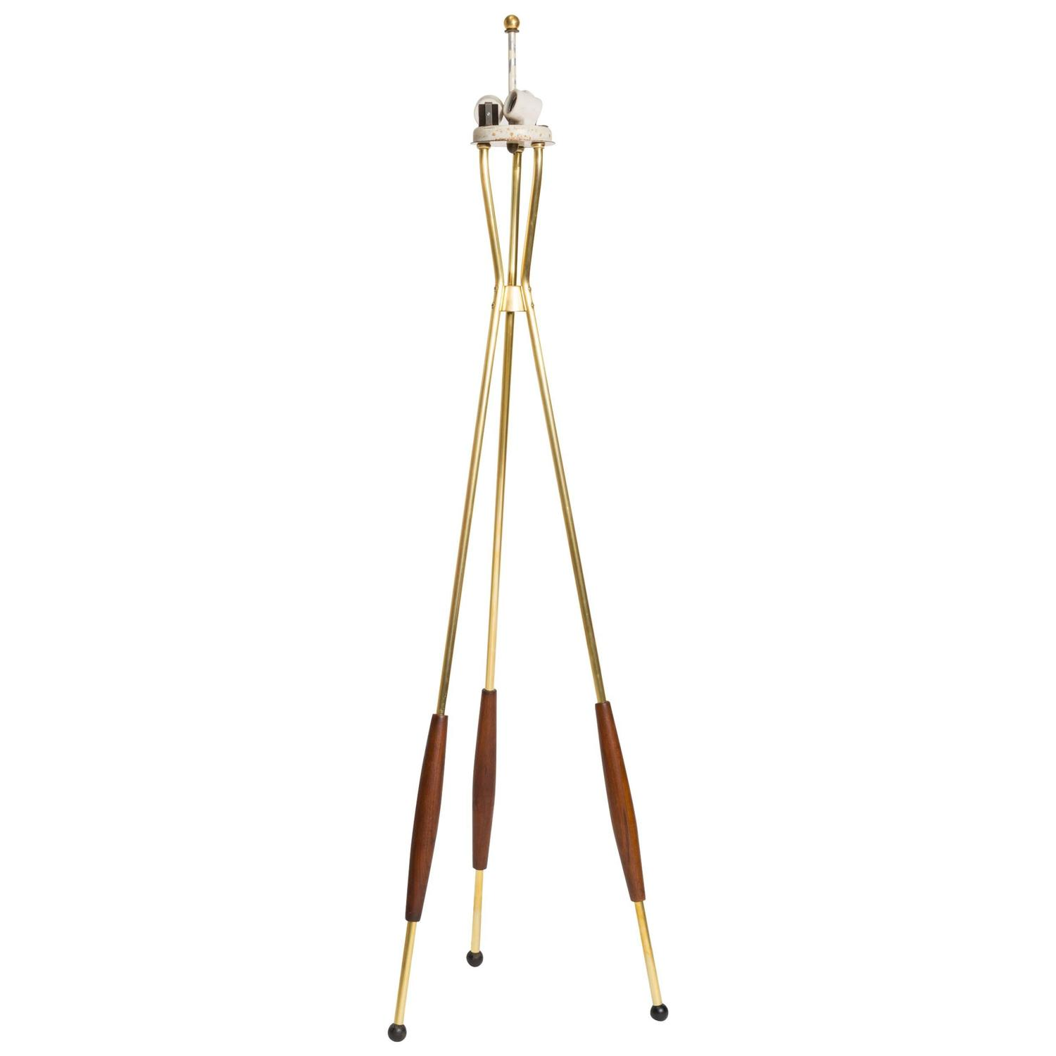 Brass And Walnut Tripod Floor Lamp By Gerald Thurston For
