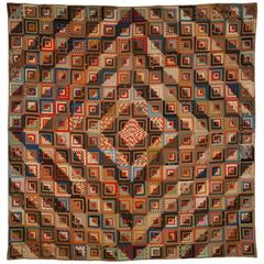 """Log Cabin-Barn Raising"" Pieced Quilt"