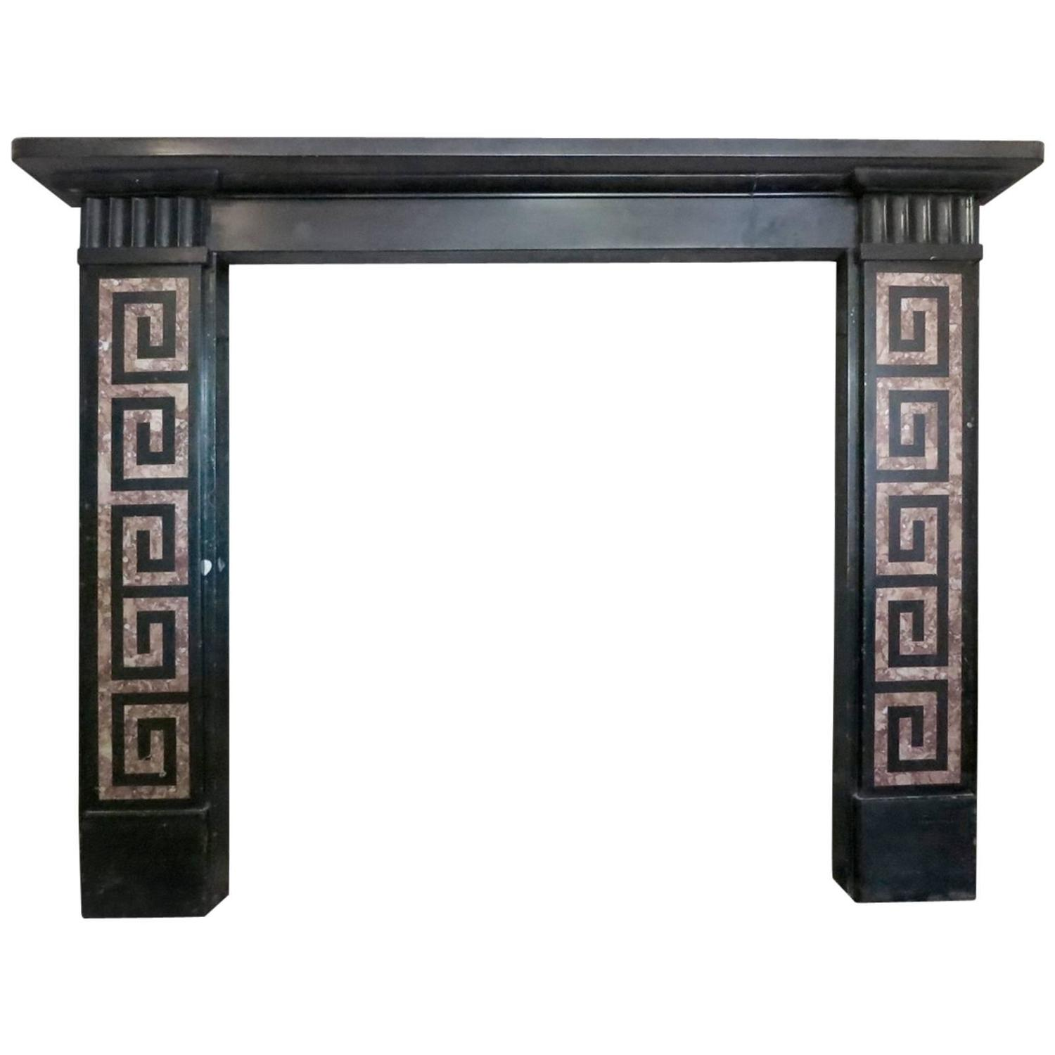 American Gothic Revival Furniture Characteristics: Early 19th Century Greek Revival Kilkenny Marble Fireplace