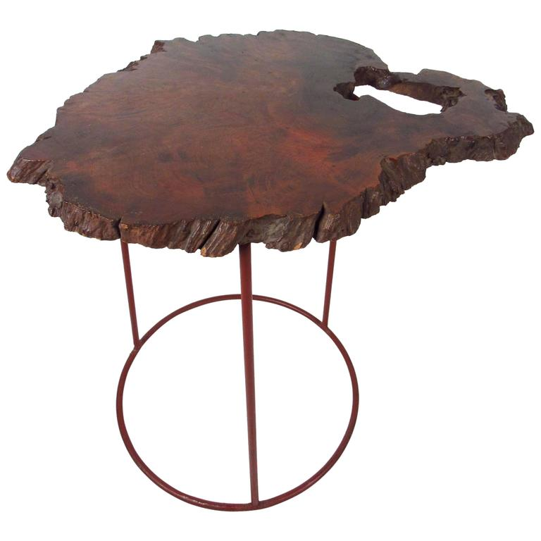 Vintage Rustic Freeform Tree Slab Coffee Table For Sale At: Mid-Century Modern Free Form Tree Slab Side Table For Sale