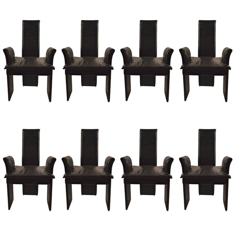 Set of eight black leather post modern chairs for sale at for Post modern chair