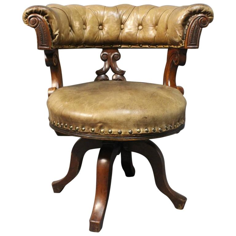 Office Chair in Mahogany and Original Patinated Leather, circa 1880