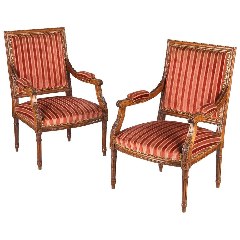 Pair of French Louis XVI Style Armchairs, Early 1900s