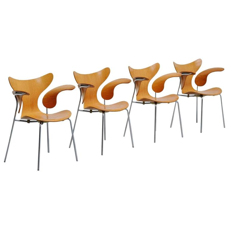 Arne Jacobsen Seagull Dining Chairs Fritz Hansen, 1972