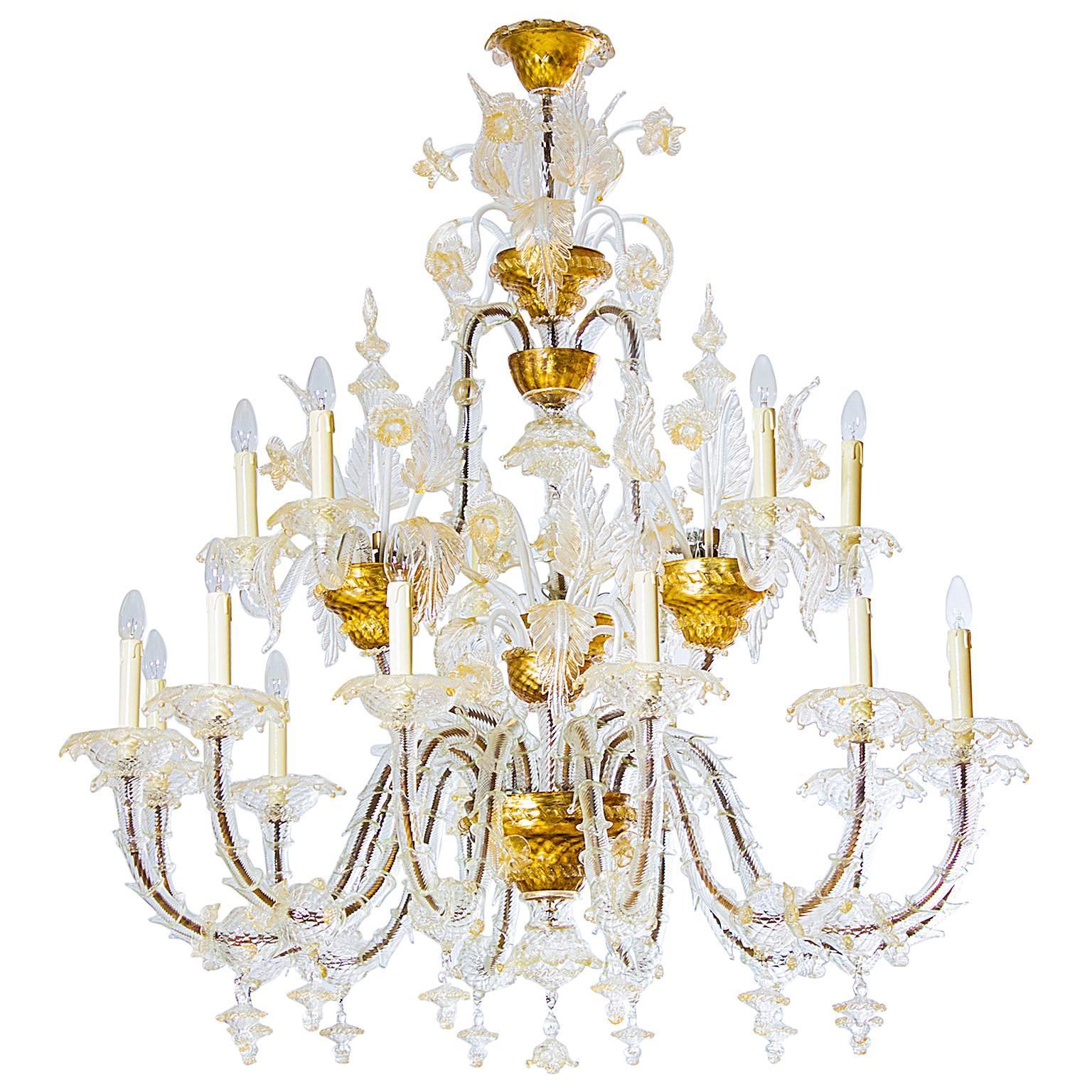 Italian Ca' Rezzonico Chandelier in Blown Murano Glass Gold 1950s
