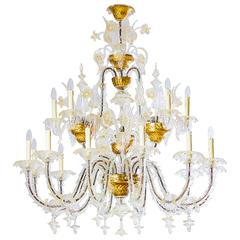 Italians Ca'rezzonico Chandelier, in the Seguso Style, circa 1950s
