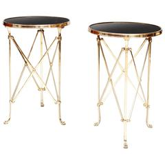 Pair of Mid-20th Century Polished Brass and Marble Lamp, End Tables