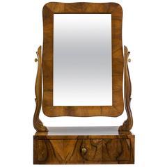 Elegant Walnut Biedermeier Vanity Mirror, circa 1840