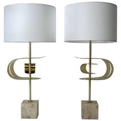 Angelo Brotto, Pair of Lamps, Brass and Travertine Base, circa 2000, Italy