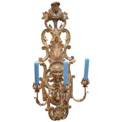 Wall Light in Gilded Wood with Three Wrought Iron Candleholders