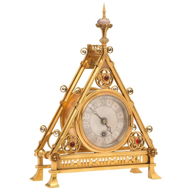 Gilt Brass Clock Designed by Bruce J. Talbert, England, circa 1875 1