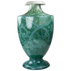 21st Century Solitaire Vase by Fuerstenberg in Jade Green Platinum Porcelain