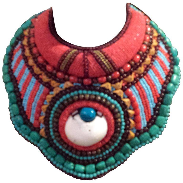 Vintage Tribal Statement Tibetan Beaded Collar Necklace