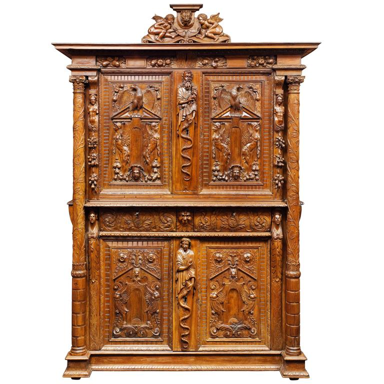 french walnut renaissance cabinet 16th century for sale
