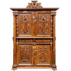 French Walnut Renaissance Cabinet, 16th Century