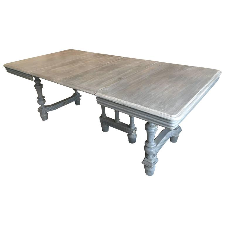 Extendable French Lime Wood Dining Table For Sale