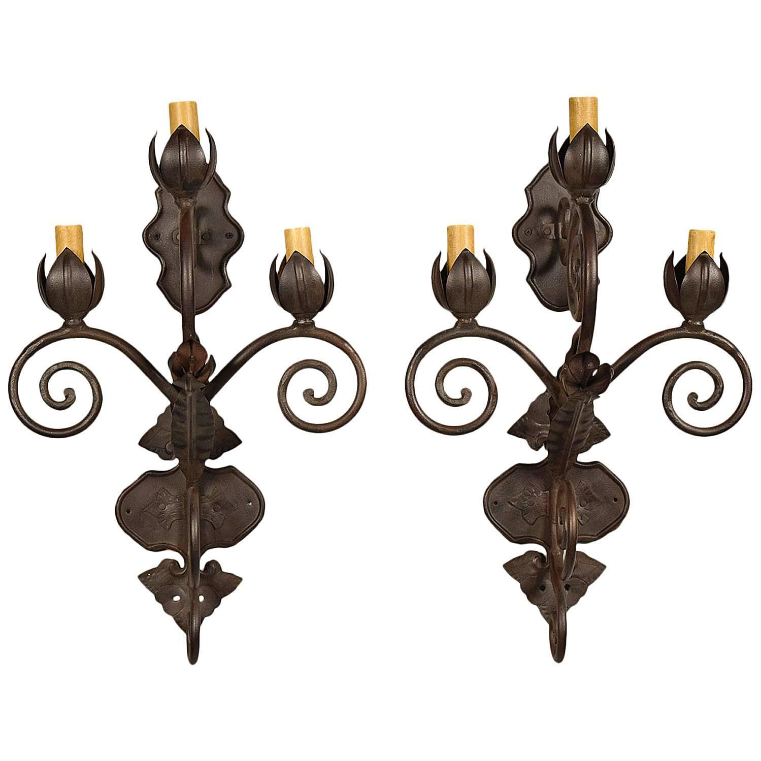 Vintage Iron Wall Sconces : Pair of Vintage Iron Wall Sconces For Sale at 1stdibs
