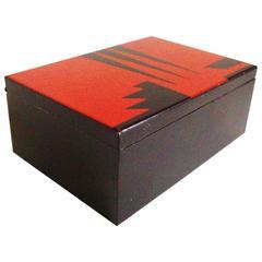 French Art Deco Geometric Red & Black Enameled, Metal & Cedar Lined Cheroot Box