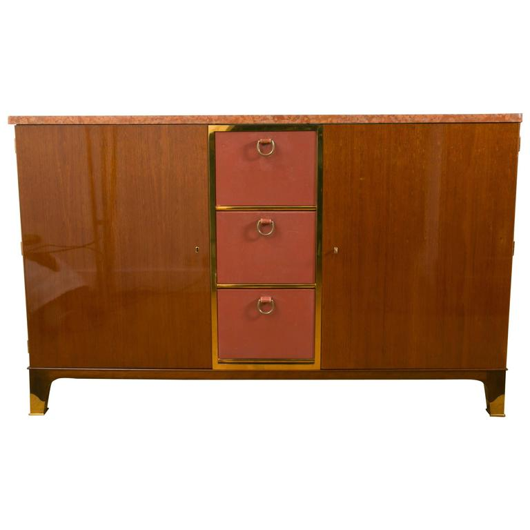 Rare mahogany and leather Sideboard cabinet, 1958, by P.Dupré-Lafon, France.
