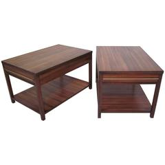 Brass and Indonesian Mahogany End Tables or Nightstands