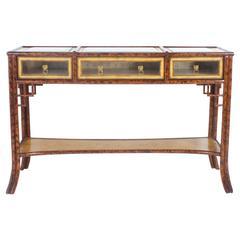Maitland Smith Rattan Display Table