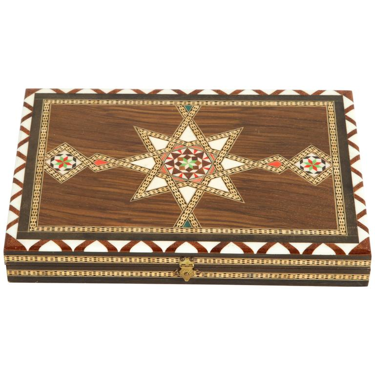 Middle Eastern Syrian Inlaid Backgammon Game At 1stdibs