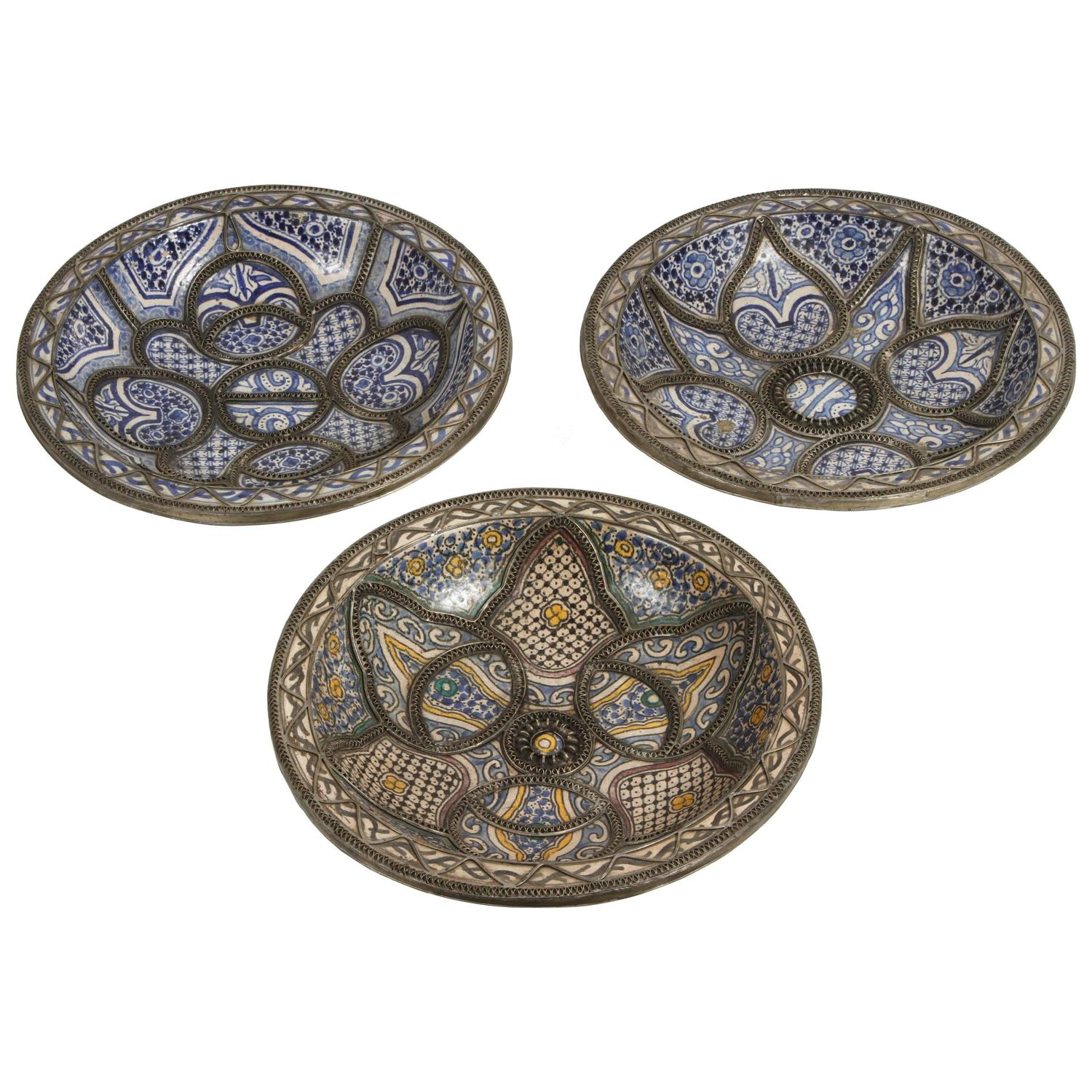 Large Decorative Ceramic Plates Large Decorative Ceramic Plates From Fez For Sale At 1Stdibs
