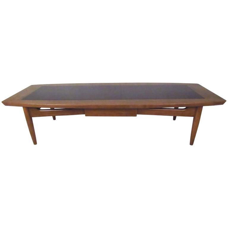 Long Vintage Walnut Coffee Table With Shelf