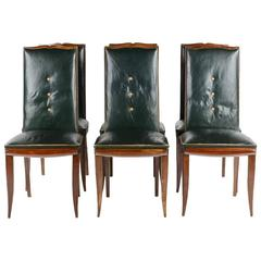 Set of Six French Art Deco Dining Chairs Circa 1930