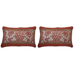 Pair of Rust and Metallic Gold Fortuny Pillows