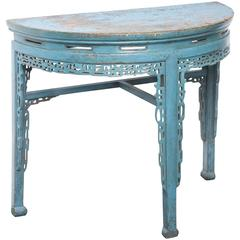 19th Century Chinese Hand-Painted Half Round Console Table