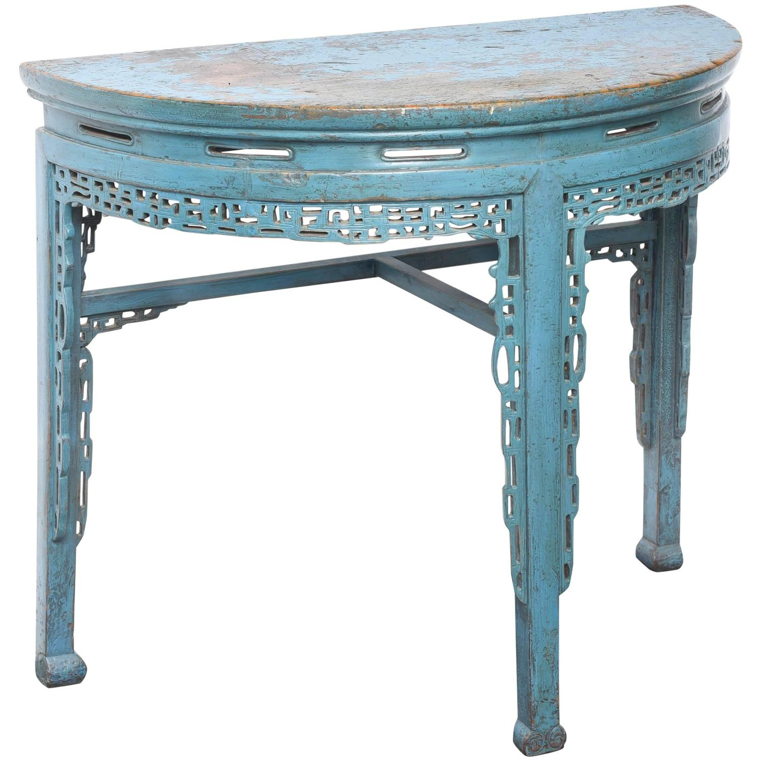 19th Century Chinese Hand Painted Half Round Console Table