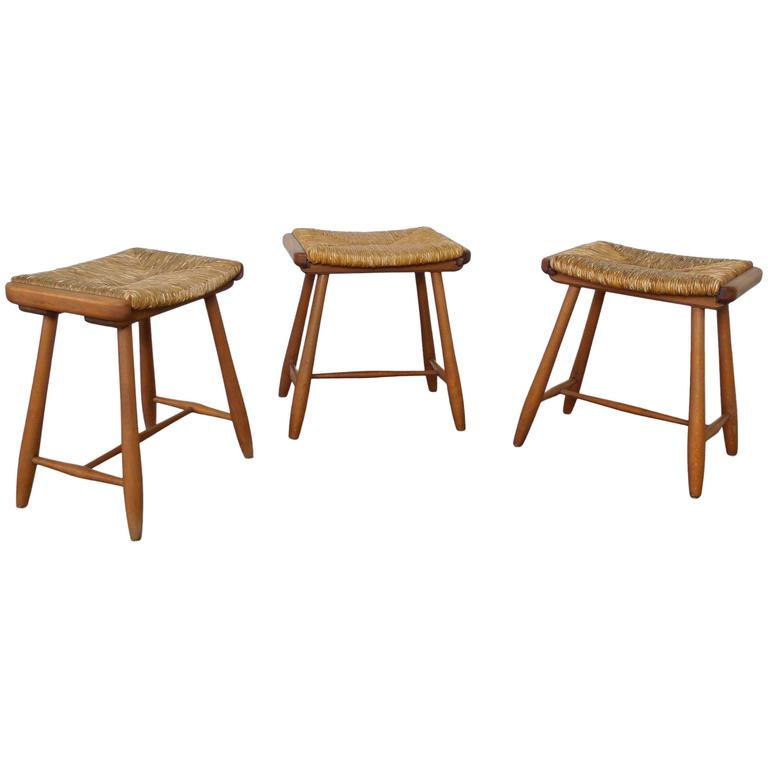 Set Of Three Bast Stools By Arno Lambrecht For Wk Wohnen