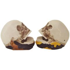 Pair of Japanese Mid-Century Skull Ashtrays by Shafford Hand Decorated China.
