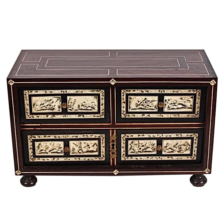 Neapolitan Parquetry Table Cabinet in Rosewood, Mahogany, Walnut and Bone