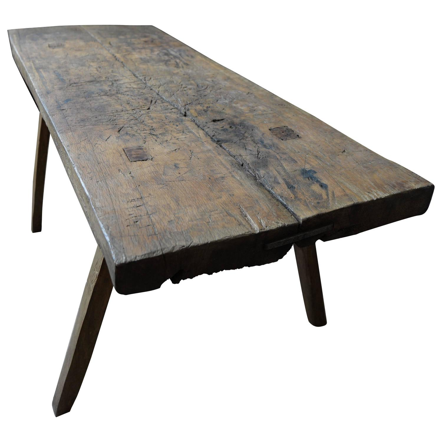 19th Century Solid Wood French Butcher's Block, Rustic Dining ...