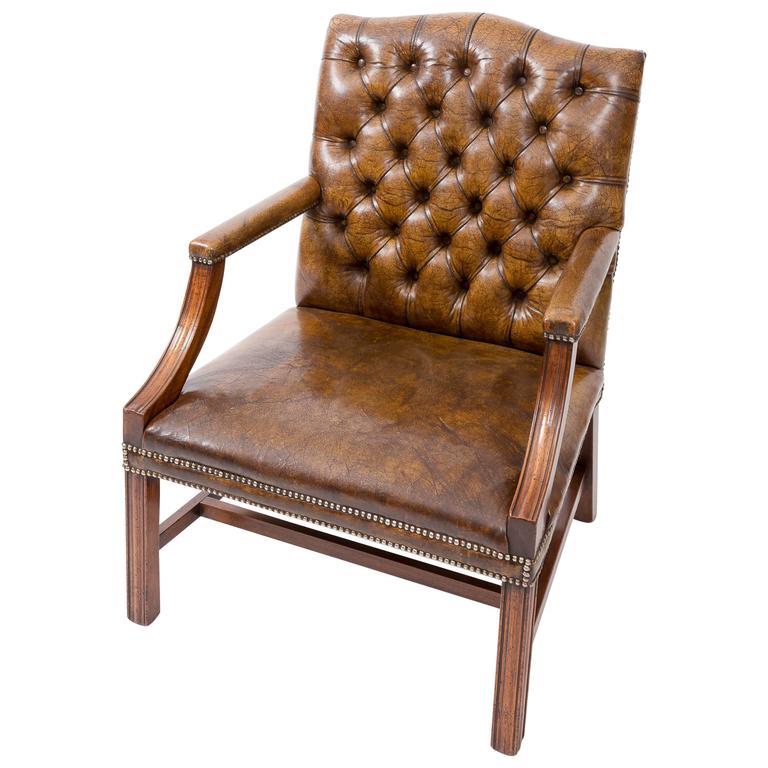 Gainsborough Leather Library Desk Chair England Circa