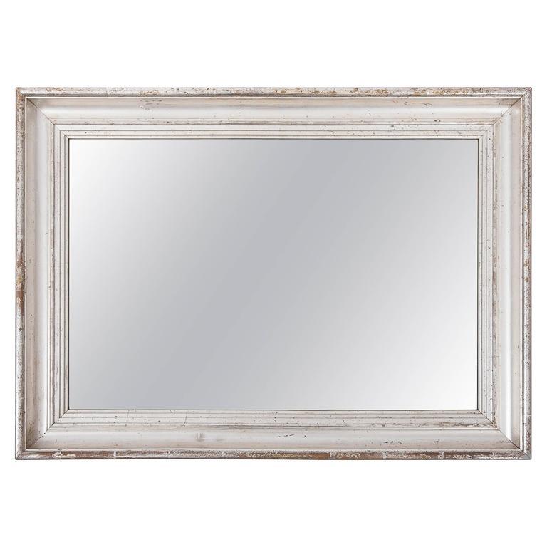 19th Century Silver Giltwood Mirror, France, circa 1860